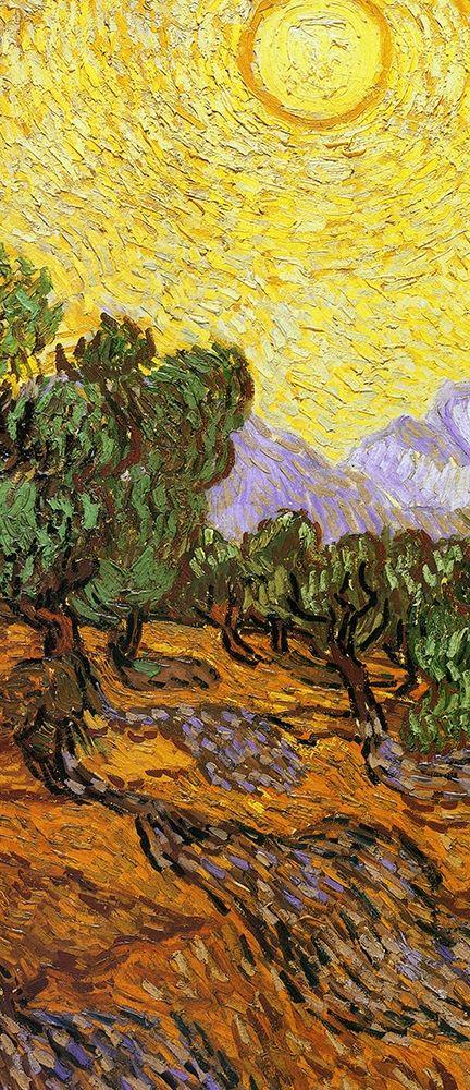 konfigurieren des Kunstdrucks in Wunschgröße Olive Trees With Yellow Sky And Sun (center) von Van Gogh, Vincent