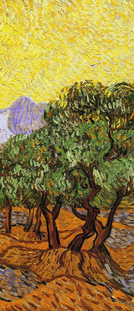 konfigurieren des Kunstdrucks in Wunschgröße Olive Trees With Yellow Sky And Sun (right) von Van Gogh, Vincent