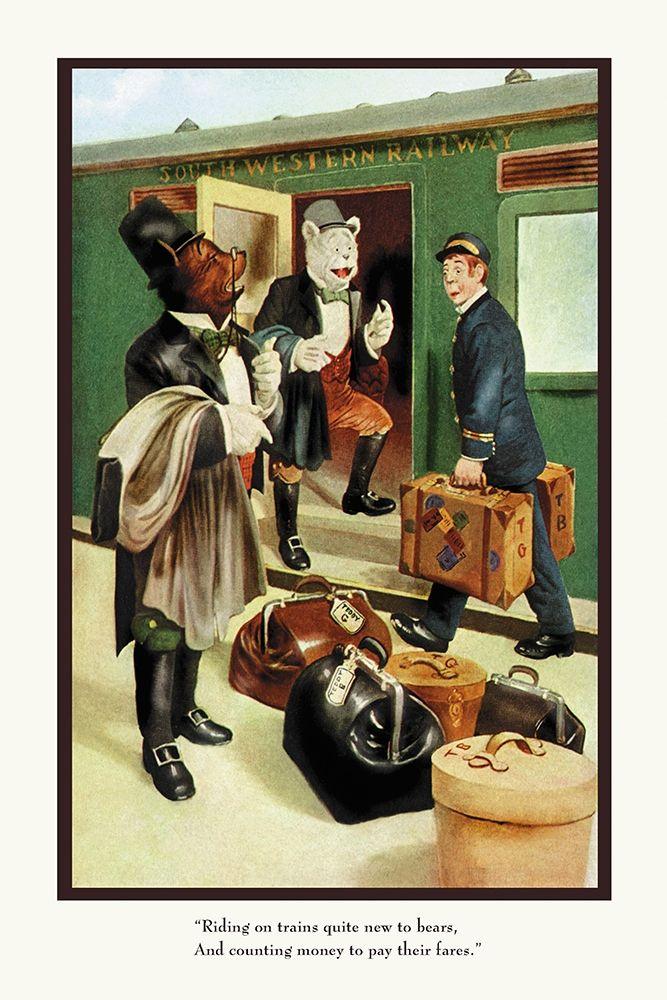 konfigurieren des Kunstdrucks in Wunschgröße Teddy Roosevelts Bears: Teddy B and Teddy G Riding Trains von Culver, R.K.