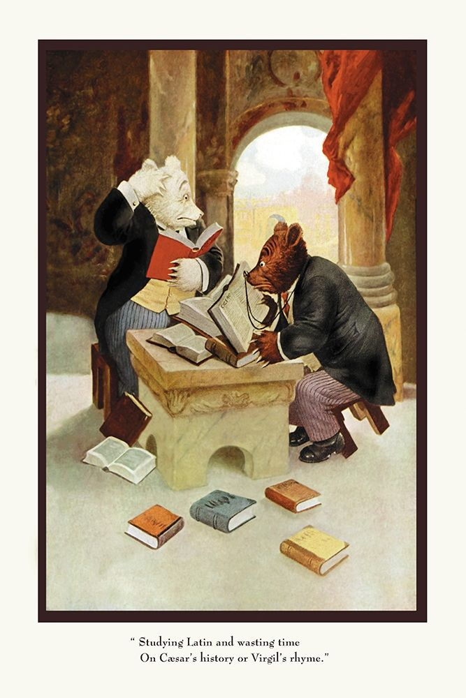 konfigurieren des Kunstdrucks in Wunschgröße Teddy Roosevelts Bears: Teddy B and Teddy G Studying Latin von Culver, R.K.