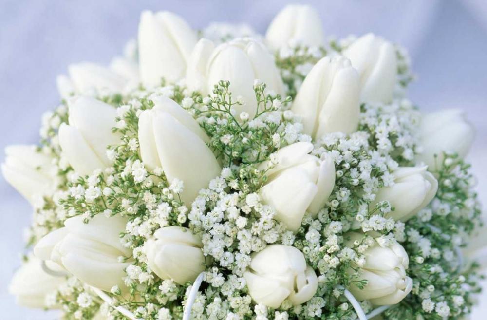 konfigurieren des Kunstdrucks in Wunschgröße Bouquet of white tulips and Babys Breath von Vermeer, Jan