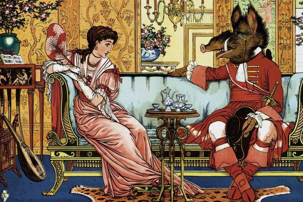 konfigurieren des Kunstdrucks in Wunschgröße Beauty and the Beast  - The Courtship von Crane, Walter