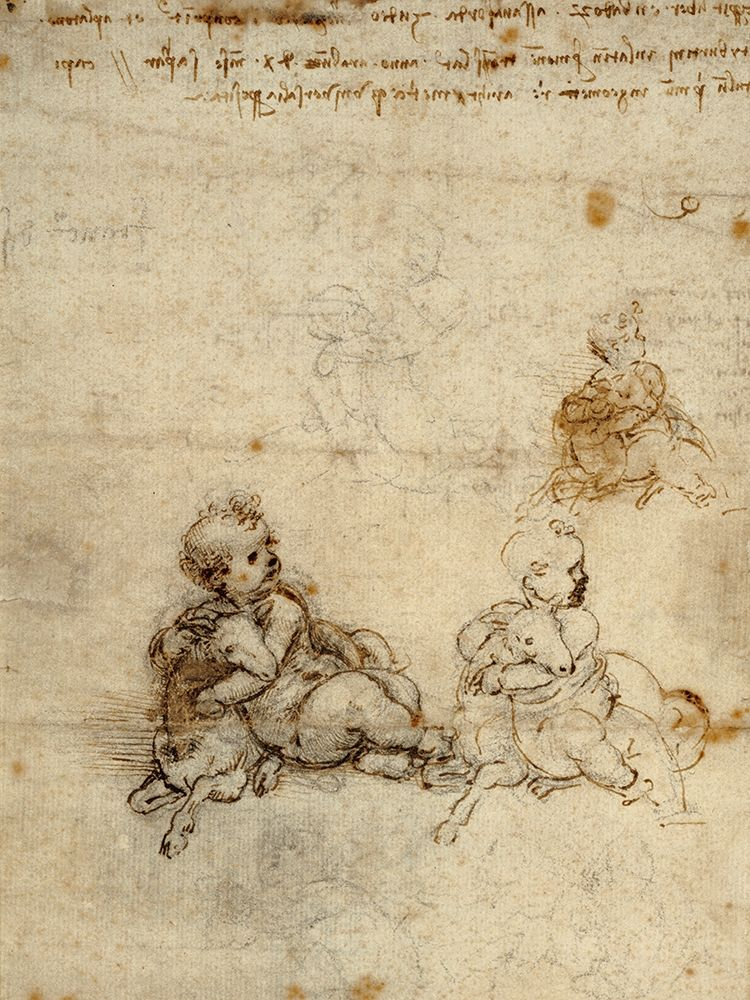 konfigurieren des Kunstdrucks in Wunschgröße Studies for the Christ Child with a Lamb (recto) von Da Vinci, Leonardo