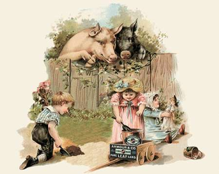konfigurieren des Kunstdrucks in Wunschgröße Pigs and Pork: Curious Pigs von Advertisement