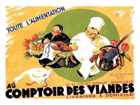 konfigurieren des Kunstdrucks in Wunschgröße Cooks: Au Comptoir des Viandes von Advertisement