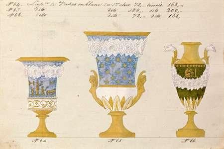konfigurieren des Kunstdrucks in Wunschgröße Trois vases en blanc du 1er choix, ca. 1800-1820 von Honore