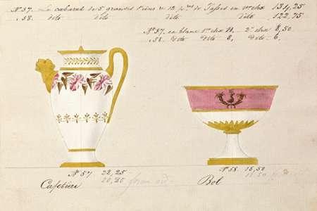konfigurieren des Kunstdrucks in Wunschgröße Cafetiere et bol, ca. 1800-1820 von Honore