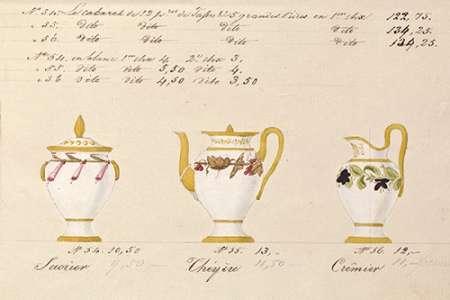 konfigurieren des Kunstdrucks in Wunschgröße Sucrier, cheyere et cremier, ca. 1800-1820 von Honore