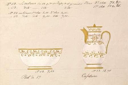 konfigurieren des Kunstdrucks in Wunschgröße Bol et cafetiere, ca. 1800-1820 von Honore