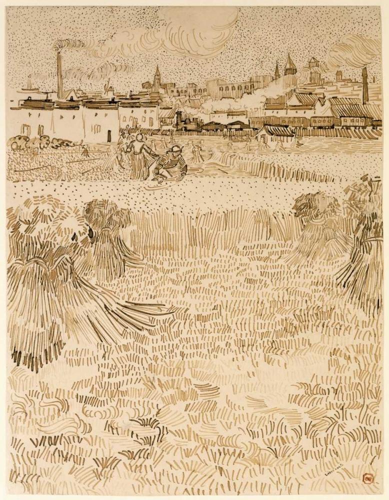 konfigurieren des Kunstdrucks in Wunschgröße Arles:  View from the Wheatfields von Van Gogh, Vincent