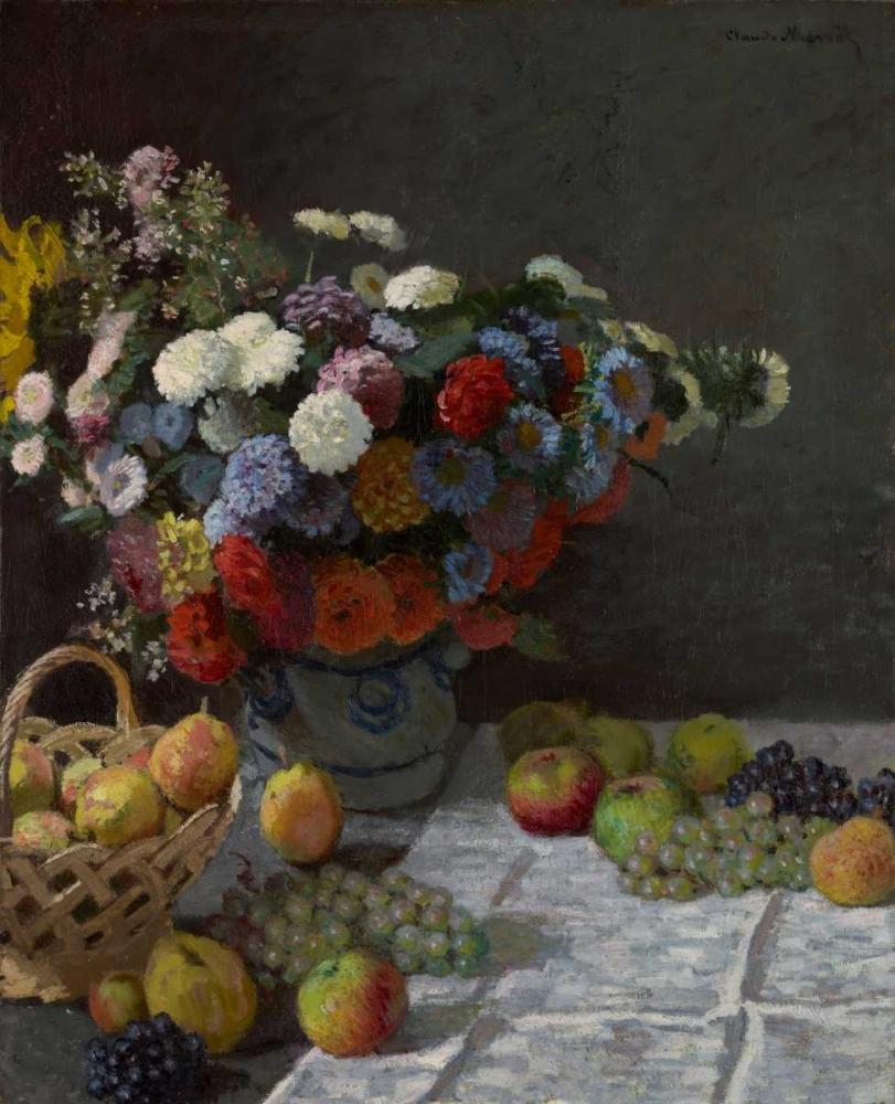 konfigurieren des Kunstdrucks in Wunschgröße Still Life with Flowers and Fruit von Monet, Claude