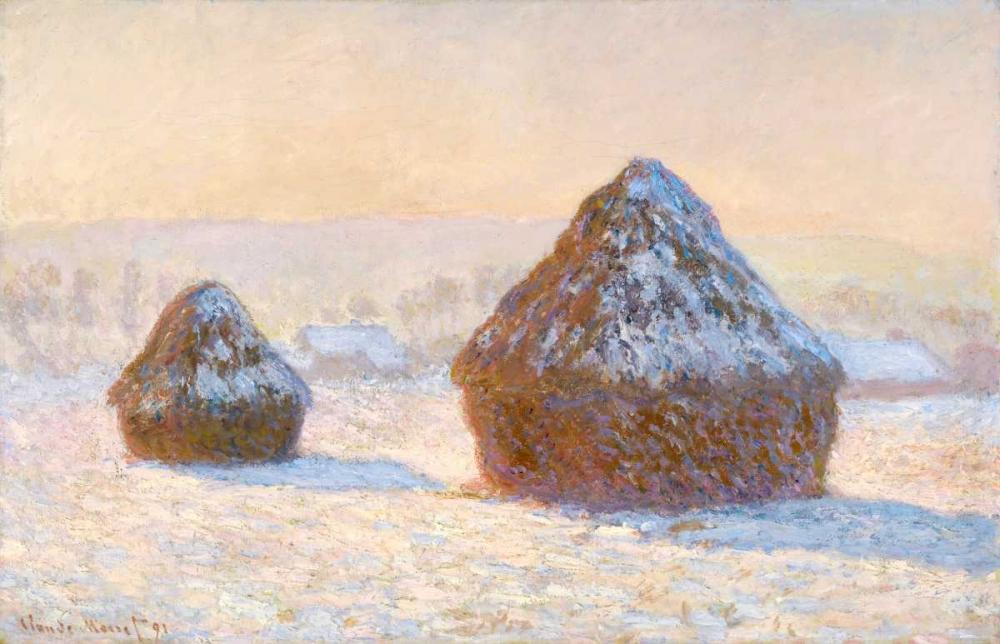 konfigurieren des Kunstdrucks in Wunschgröße Wheatstacks, Snow Effect, Morning - Meules, Effet de Neige, Le Matin von Monet, Claude