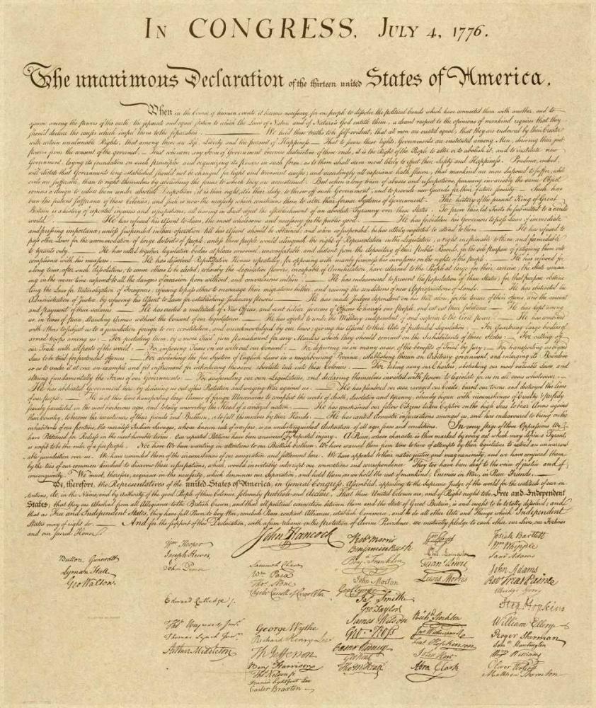 konfigurieren des Kunstdrucks in Wunschgröße U.S. Declaration of Independence - Decorative Sepia von Einzelbilder