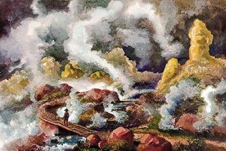 konfigurieren des Kunstdrucks in Wunschgröße Krater des Vulkan Papandajan Schwefelfelsen und kochende Quellen von Haeckel, Ernst