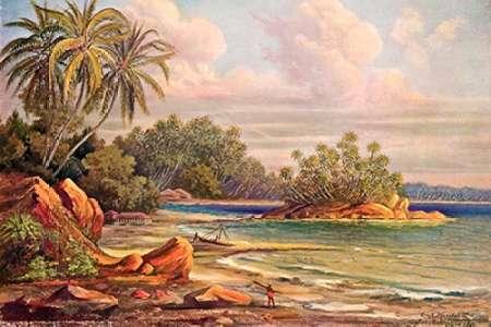 konfigurieren des Kunstdrucks in Wunschgröße Cocos-Insel bei Belligemma (Gan-Duva) Ceylon von Haeckel, Ernst
