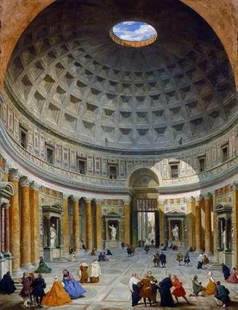 konfigurieren des Kunstdrucks in Wunschgröße Interior of the Pantheon, Rome, c. 1734 von Panini, Giovanni Paolo