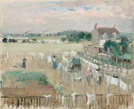 konfigurieren des Kunstdrucks in Wunschgröße Hanging the Laundry out to Dry, 1875 von Morisot, Berthe