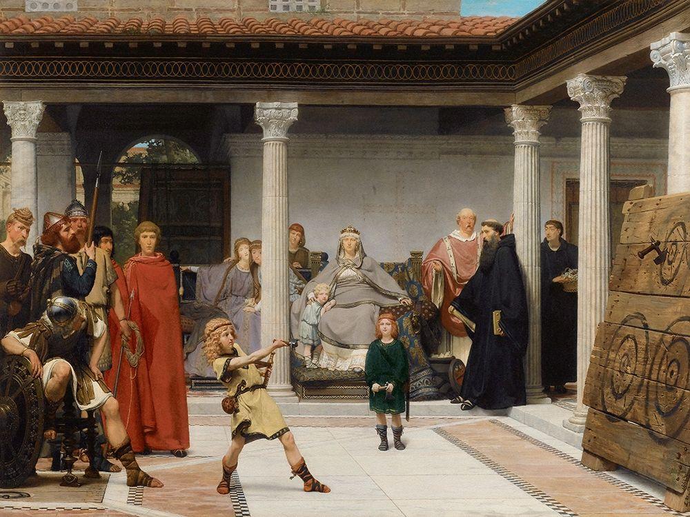konfigurieren des Kunstdrucks in Wunschgröße The Education of the Children of Clovis, 1861 von Alma-Tadema, Sir Lawrence