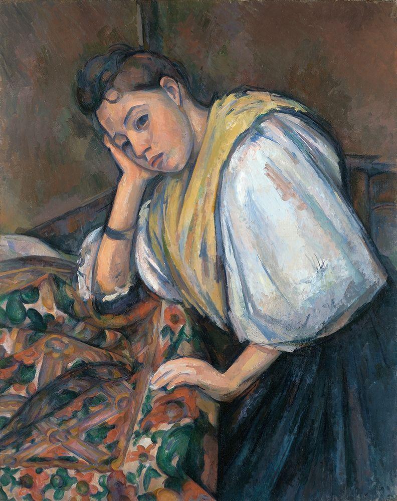 konfigurieren des Kunstdrucks in Wunschgröße Young Italian Woman at a Table von Cezanne, Paul