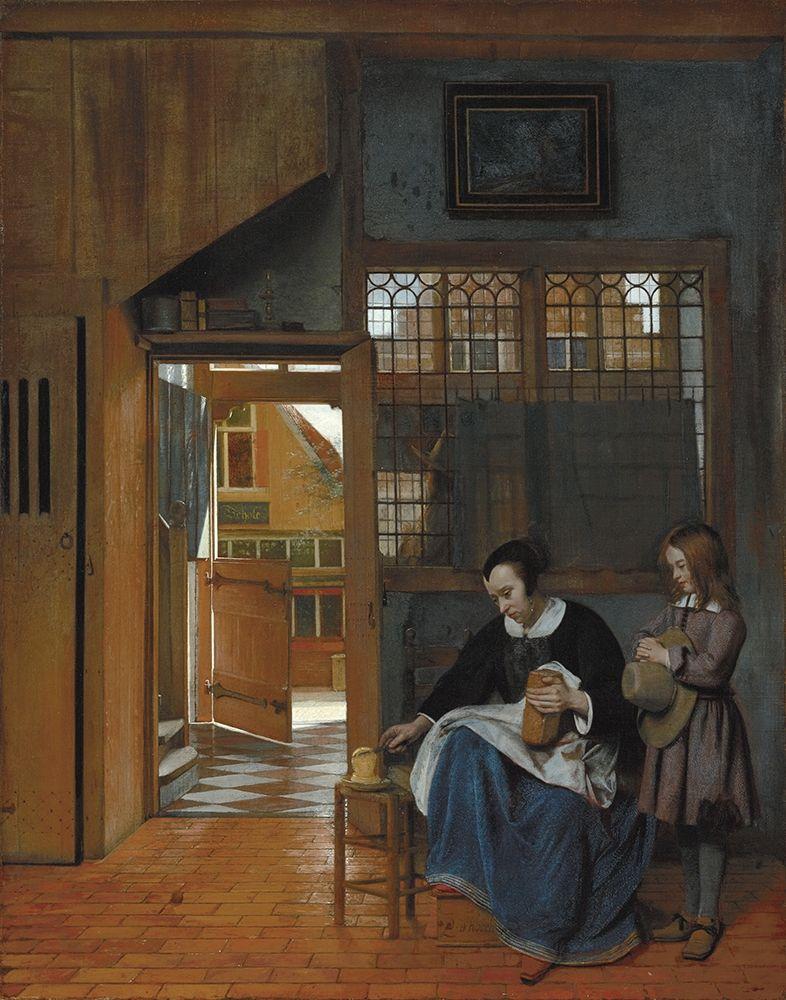 konfigurieren des Kunstdrucks in Wunschgröße A Woman Preparing Bread and Butter for a Boy von de Hooch, Pieter