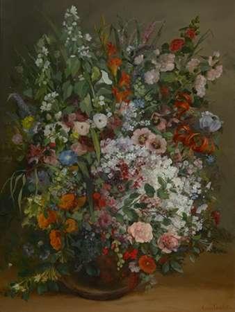 konfigurieren des Kunstdrucks in Wunschgröße Bouquet of Flowers in a Vase von Courbet, Gustave