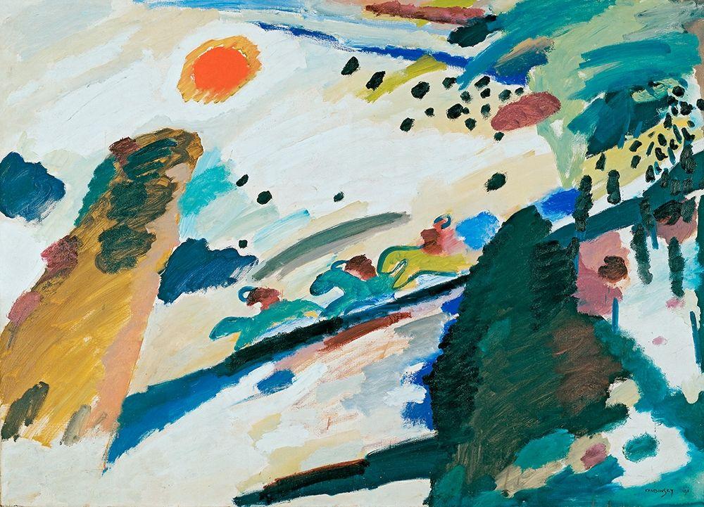 konfigurieren des Kunstdrucks in Wunschgröße Romantic Landscape, 1911 von Kandinsky, Wassily