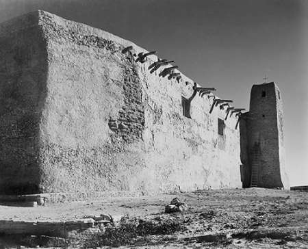 konfigurieren des Kunstdrucks in Wunschgröße Church Side Wall and Tower, Acoma Pueblo, New Mexico - National Parks and Monuments, ca. 1933-1942 von Adams, Ansel