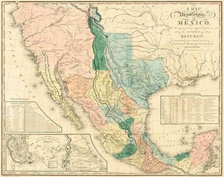 konfigurieren des Kunstdrucks in Wunschgröße A map of the United States of Mexico : as organized and defined by the several acts of the Congress von Tanner, Henry Schenck