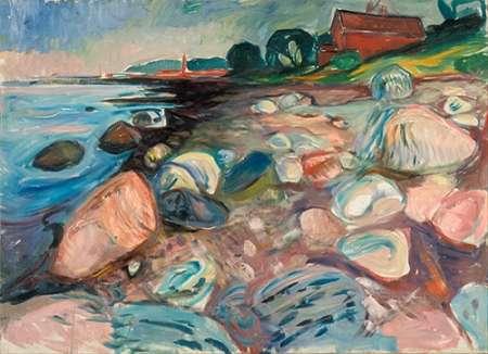 konfigurieren des Kunstdrucks in Wunschgröße Shore with Red House, 1904 von Munch, Edvard