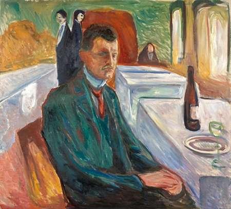 konfigurieren des Kunstdrucks in Wunschgröße Self-Portrait with a Bottle of Wine, 1906 von Munch, Edvard