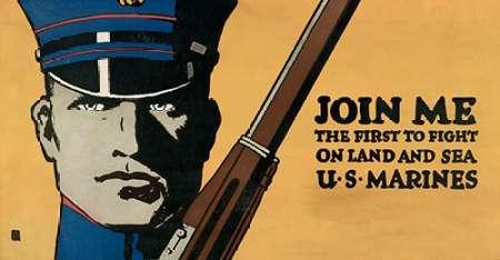 konfigurieren des Kunstdrucks in Wunschgröße Join me - the first to fight on land and sea - U.S. Marines, 1914/1918 von Falls, Charles Buckles