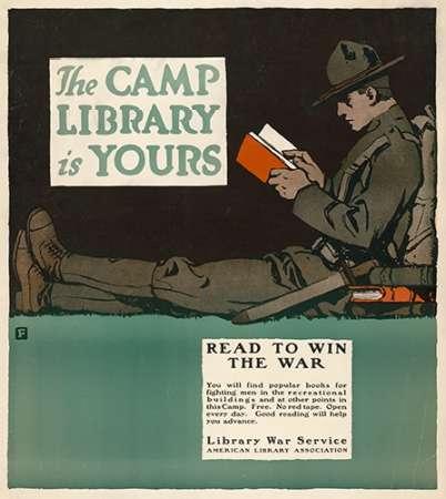 konfigurieren des Kunstdrucks in Wunschgröße The Camp Library is Yours - Read to Win the War, 1917 von Falls, Charles Buckles