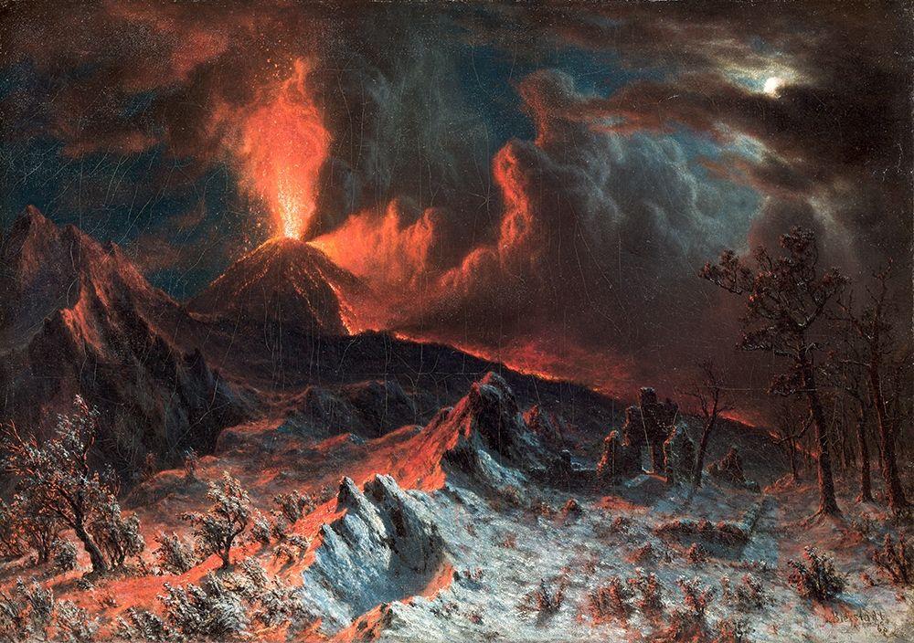 konfigurieren des Kunstdrucks in Wunschgröße Mount Vesuvius at Midnight von Bierstadt, Albert