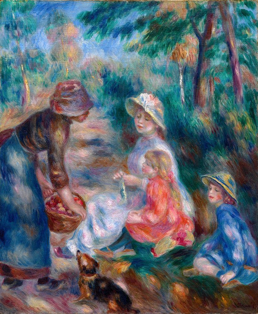 konfigurieren des Kunstdrucks in Wunschgröße The Apple Seller von Renoir, Pierre-Auguste