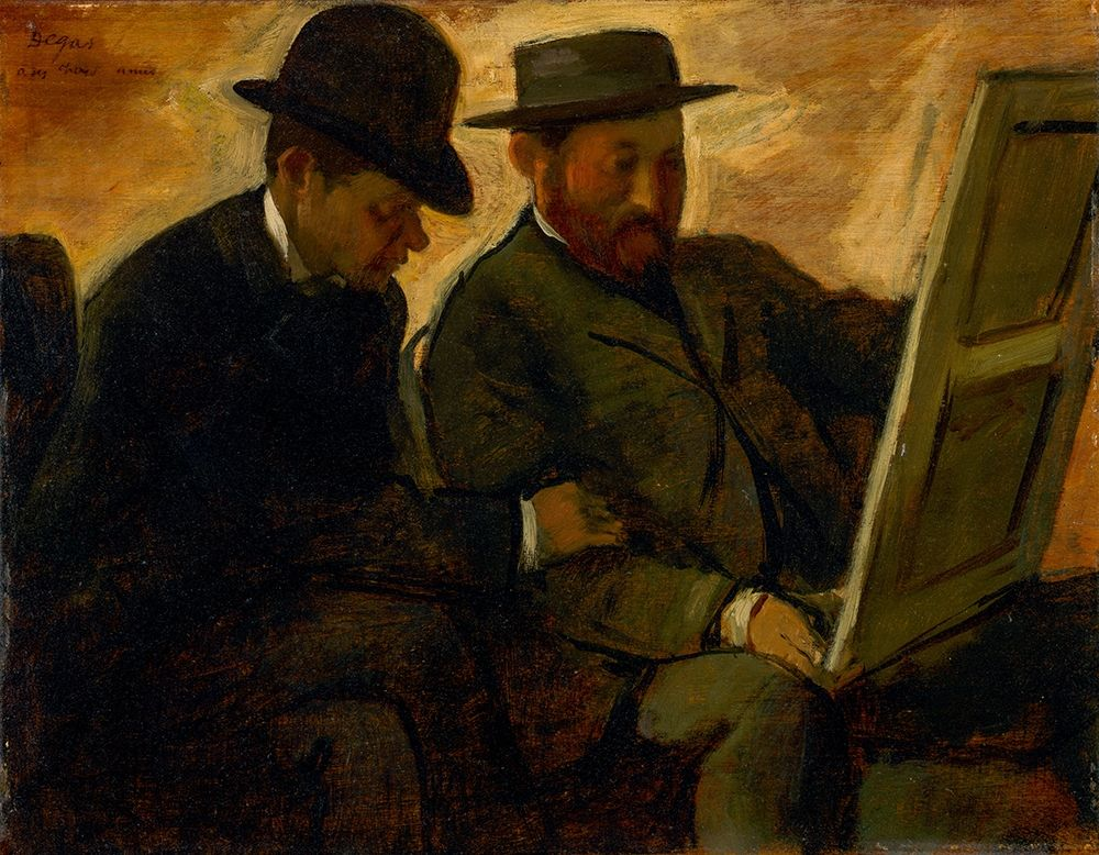 konfigurieren des Kunstdrucks in Wunschgröße Paul Lafond and Alphonse Cherfils Examining a Painting von Degas, Edgar