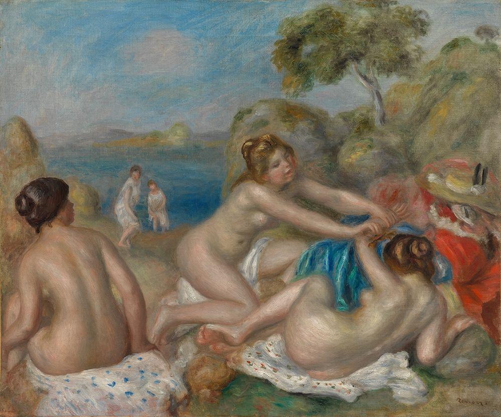 konfigurieren des Kunstdrucks in Wunschgröße Bathers Playing with a Crab von Renoir, Pierre-Auguste