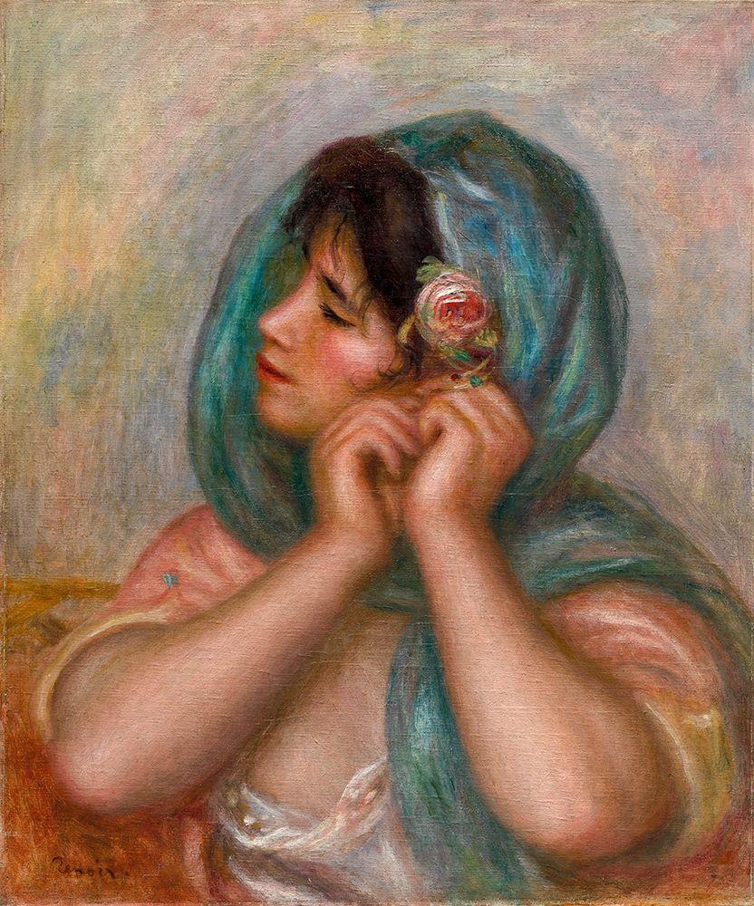 konfigurieren des Kunstdrucks in Wunschgröße Young Woman Arranging Her Earring von Renoir, Pierre-Auguste