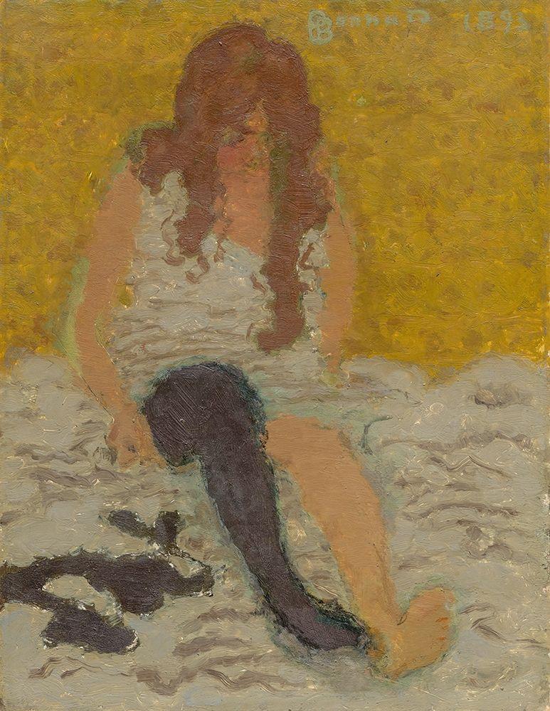 konfigurieren des Kunstdrucks in Wunschgröße Woman Putting on Her Stockings von Bonnard, Pierre