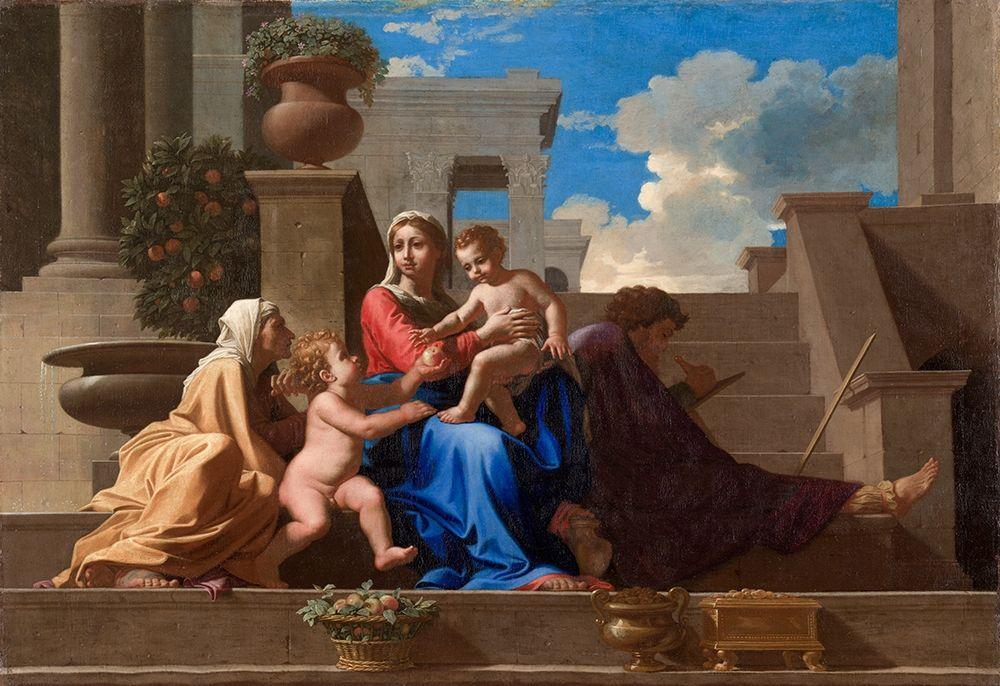 konfigurieren des Kunstdrucks in Wunschgröße The Holy Family on the Steps von Poussin, Nicolas