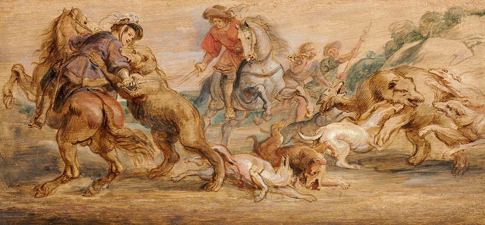 konfigurieren des Kunstdrucks in Wunschgröße Study for The Bear Hunt for the Alcazar, Madrid von Rubens, Peter Paul
