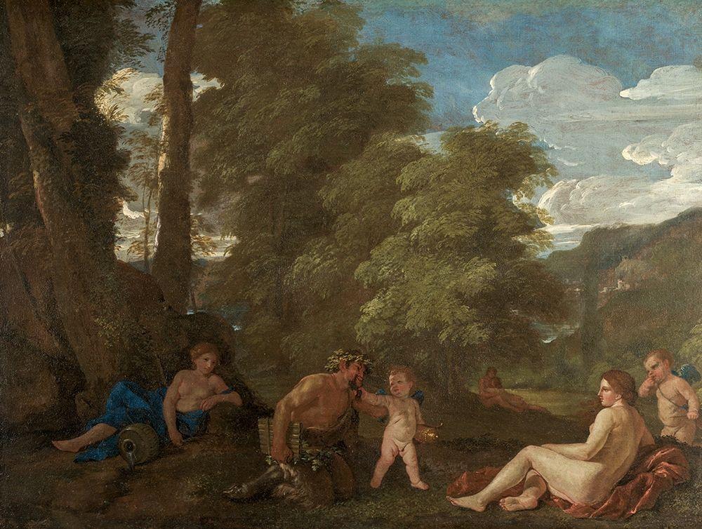 konfigurieren des Kunstdrucks in Wunschgröße Nymphs and a Satyr von Poussin, Nicolas