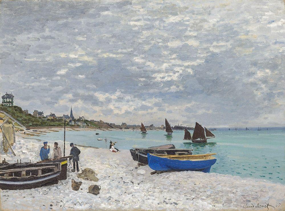 konfigurieren des Kunstdrucks in Wunschgröße The Beach at Sainte-Adresse 1867 von Monet, Claude