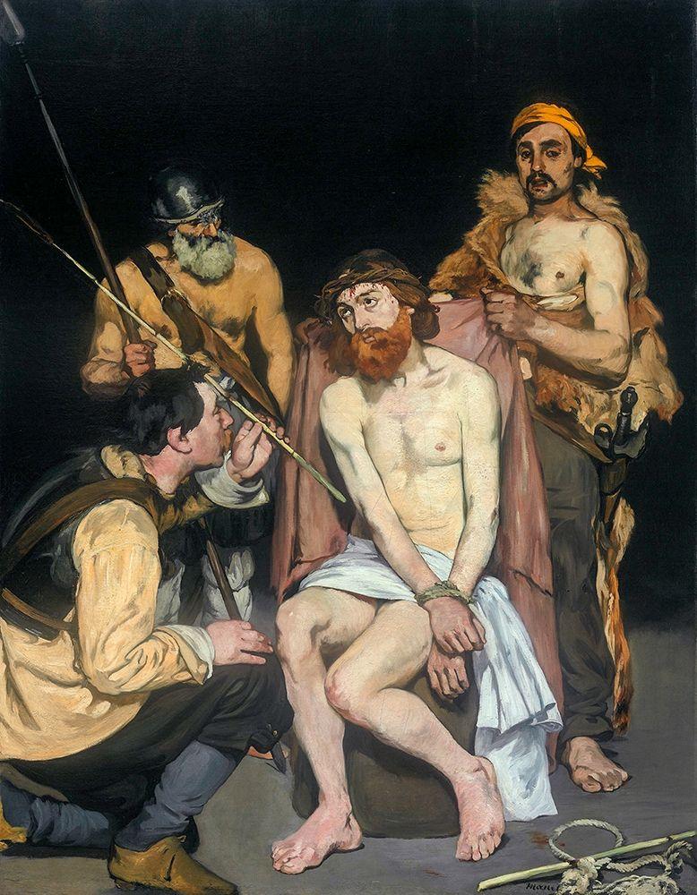 konfigurieren des Kunstdrucks in Wunschgröße Jesus Mocked by the Soldiers 1865 von Manet, Edouard
