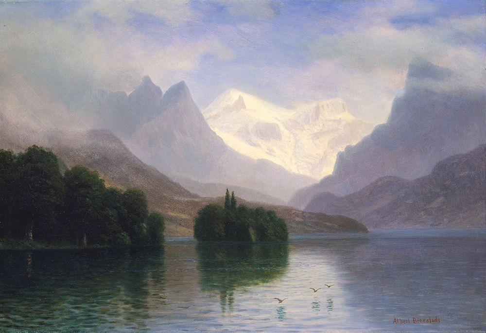 konfigurieren des Kunstdrucks in Wunschgröße Mountain Scene von Bierstadt, Albert