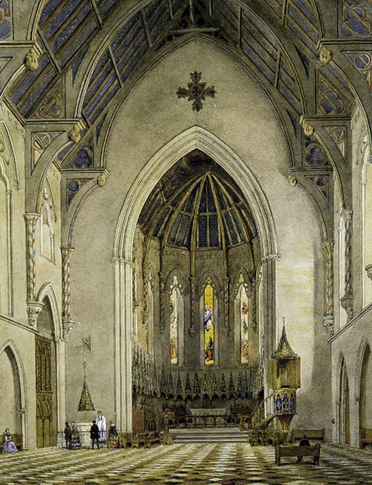 konfigurieren des Kunstdrucks in Wunschgröße Chancel of Trinity Chapel, New York 1856 von Hill, John William