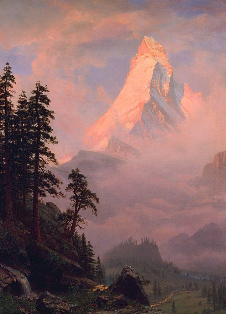 konfigurieren des Kunstdrucks in Wunschgröße Sunrise on the Matterhorn  1875 von Bierstadt, Albert