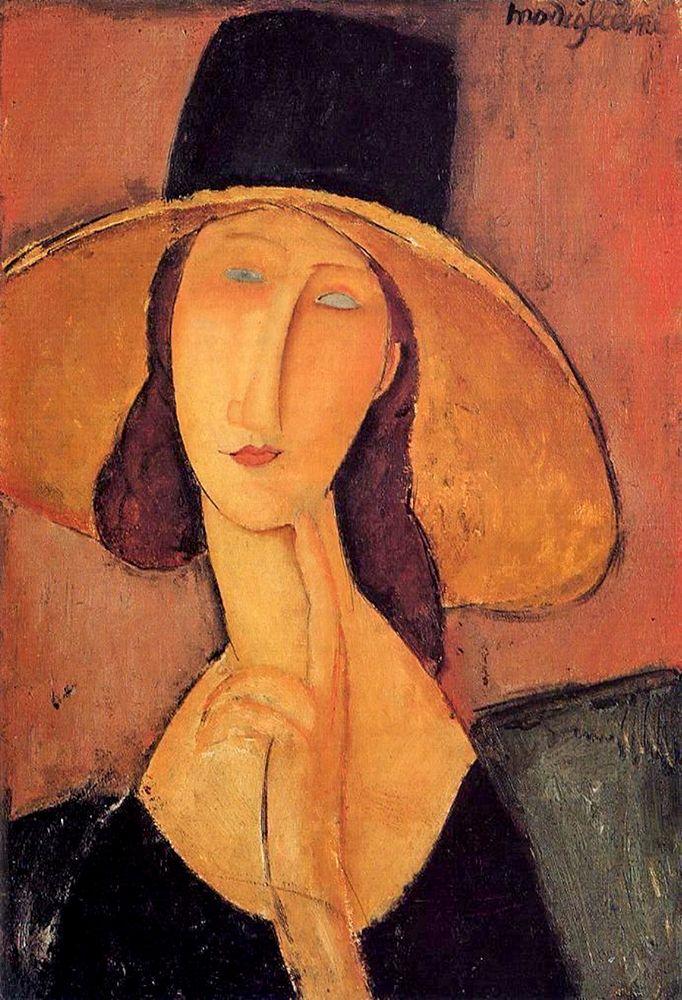 konfigurieren des Kunstdrucks in Wunschgröße Portrait dune jeune femme au chapeau (Jeanne Hobuterne avec un grand chapeau) von Modigliani, Amedeo