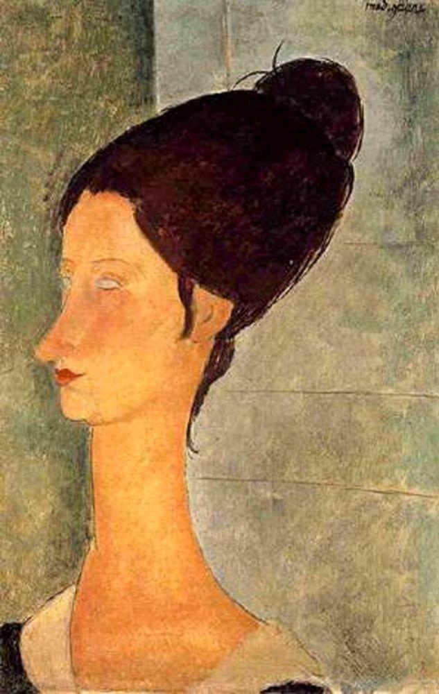 konfigurieren des Kunstdrucks in Wunschgröße Lady with black hair von Modigliani, Amedeo