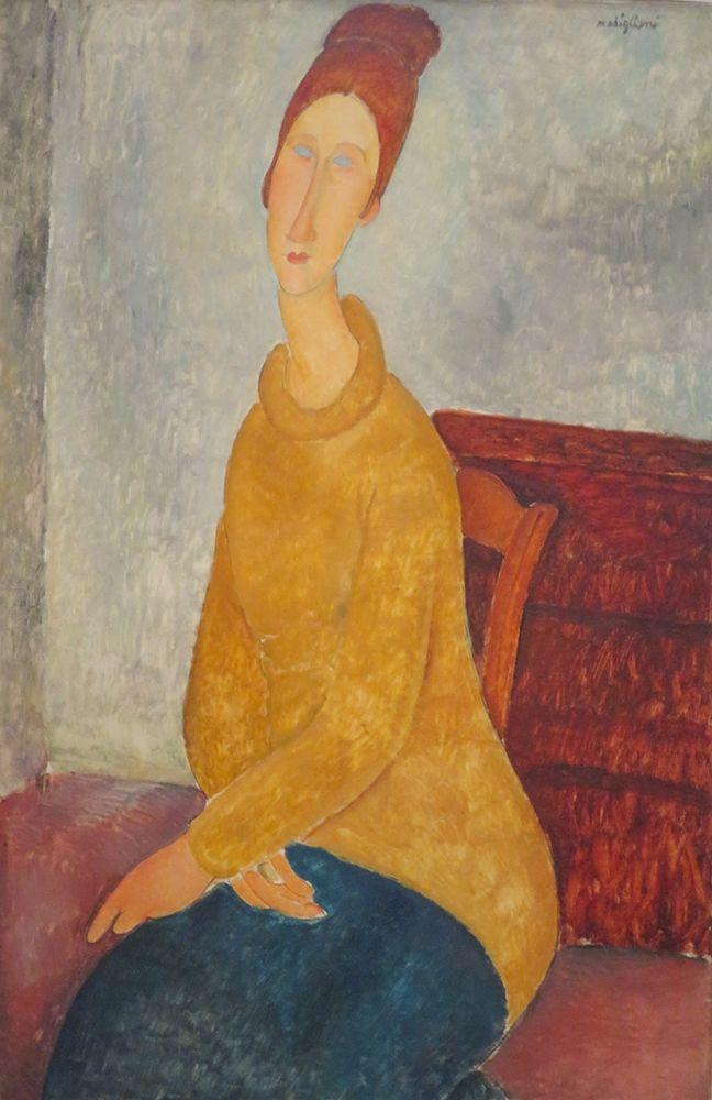 konfigurieren des Kunstdrucks in Wunschgröße Jeanne Hebuterne en pull-over jaune von Modigliani, Amedeo