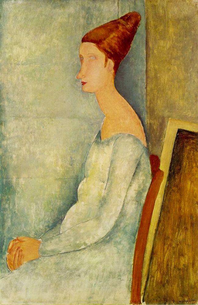 konfigurieren des Kunstdrucks in Wunschgröße Jeanne Hebuterne assise de profil von Modigliani, Amedeo